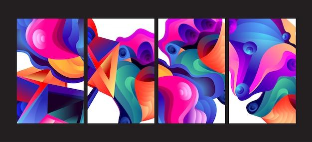 Abstracte kleurrijke gradiënt vloeibare achtergrond instellen. Premium Vector