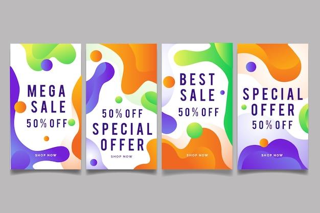 Abstracte kleurrijke instagram verkoopverhalen Gratis Vector