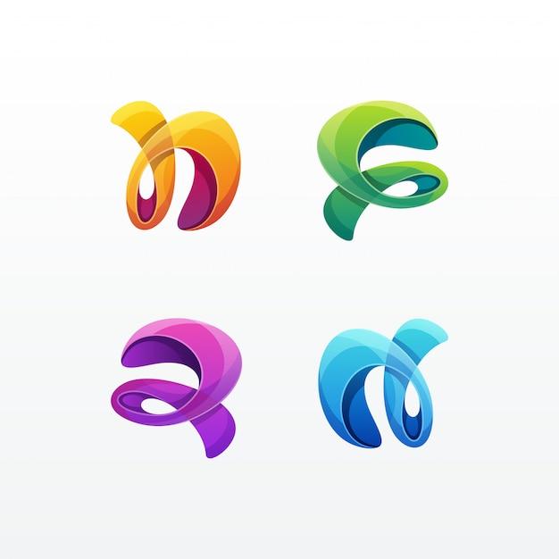 Abstracte kleurrijke logo set vector sjabloon Premium Vector