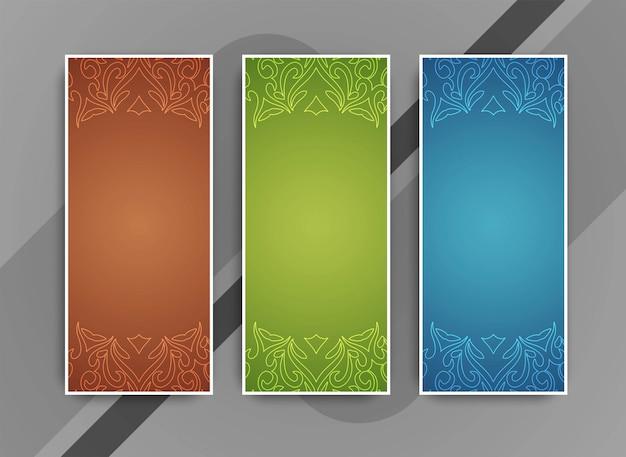 Abstracte kleurrijke mooie geplaatste banners Gratis Vector