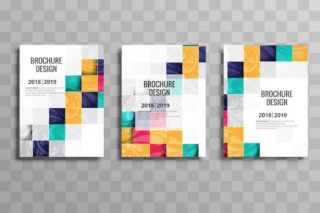 Abstracte kleurrijke mozaïek zakelijke brochure sjabloon set Gratis Vector