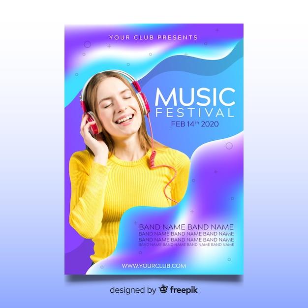 Abstracte kleurrijke muziek poster sjabloon met foto Gratis Vector