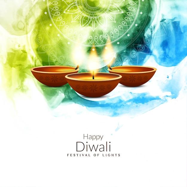 Abstracte kleurrijke religieuze gelukkige diwali-achtergrond Gratis Vector