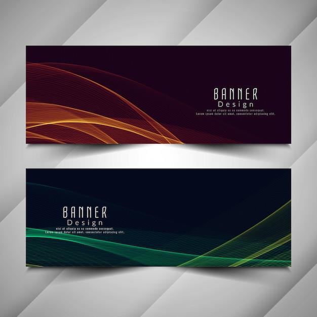 Abstracte kleurrijke stijlvolle golvende banners instellen Premium Vector