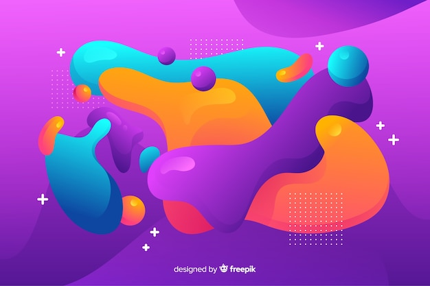 Abstracte kleurrijke stroom vormen achtergrondontwerp Gratis Vector