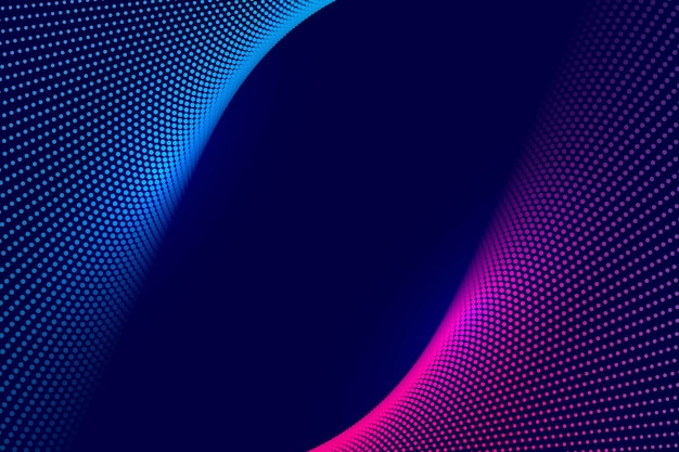 Abstracte kleurrijke technologie gestippelde golfachtergrond Gratis Vector