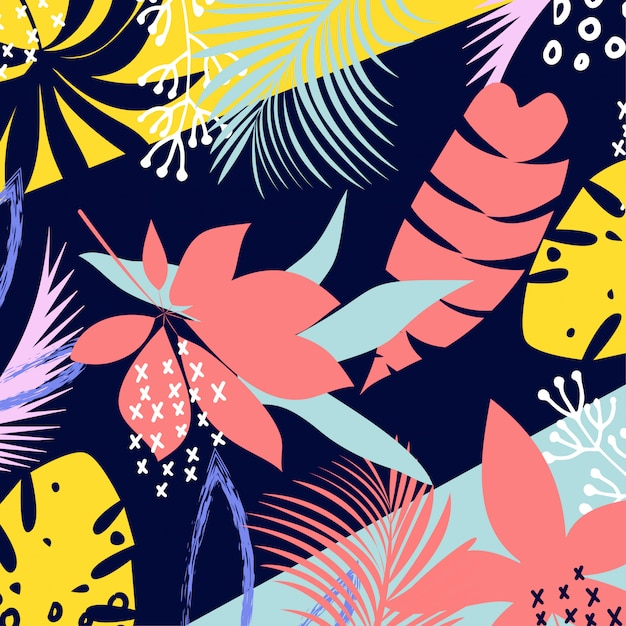 Abstracte kleurrijke tropische bladeren en bloemen Premium Vector