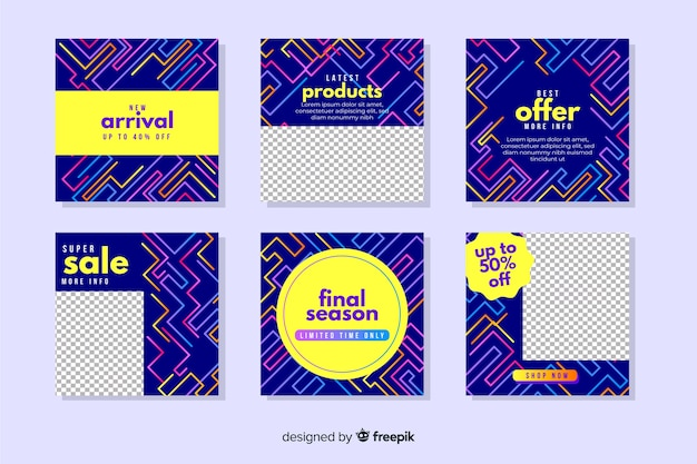 Abstracte kleurrijke verkoop instagram postinzameling Gratis Vector