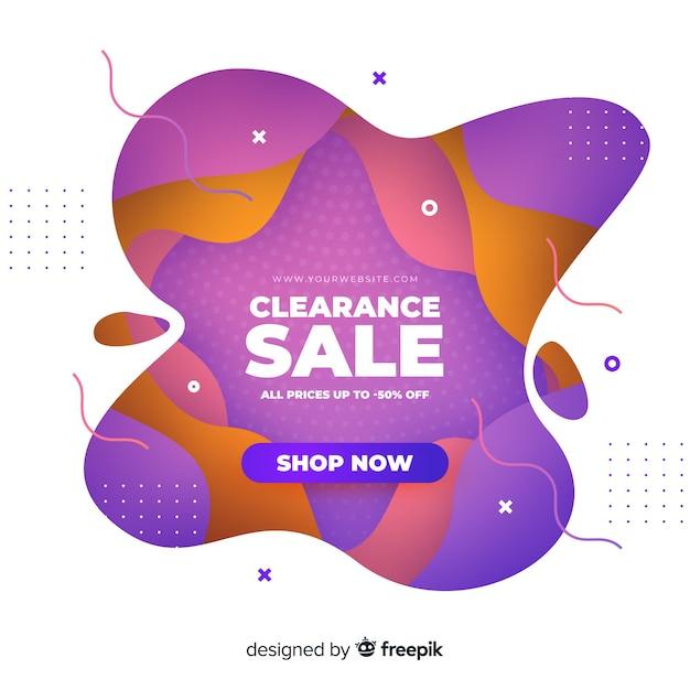 Abstracte kleurrijke verkoopbanner met 50% korting Gratis Vector