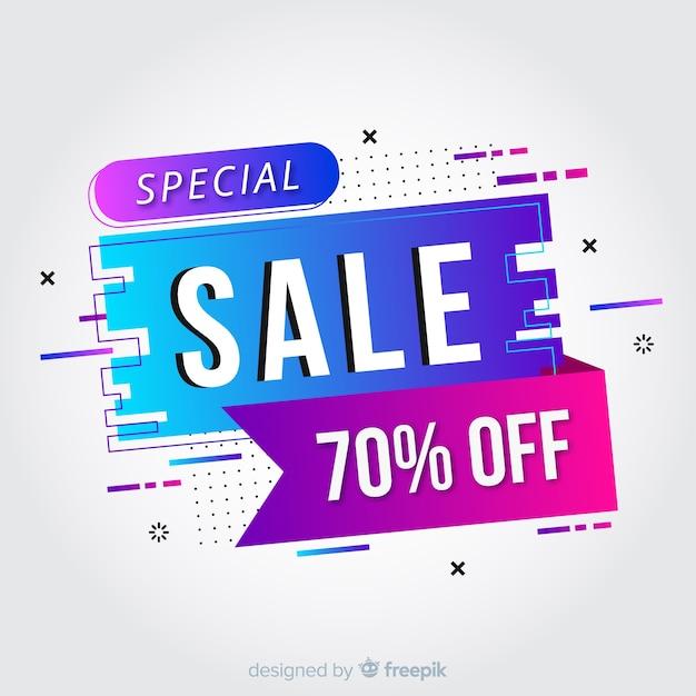 Abstracte kleurrijke verloop verkoop banner Gratis Vector