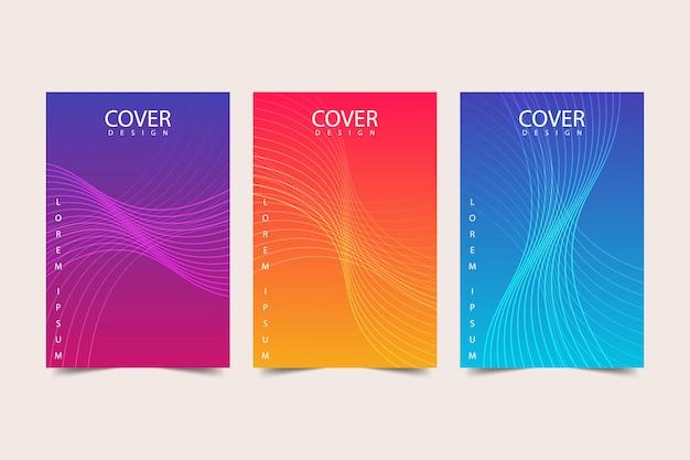 Abstracte kleurrijke voorbladsjabloon set Premium Vector