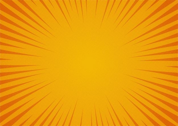 Abstracte komische gele achtergrond cartoon stijl. zonlicht. Premium Vector