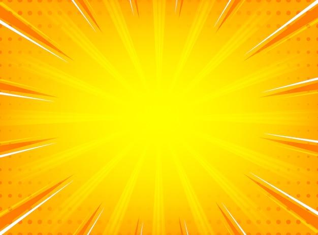 Abstracte komische zonnestraal radiale lijnen achtergrond Premium Vector
