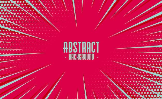 Abstracte komische zoom bewegingslijnen met halftone achtergrond Gratis Vector