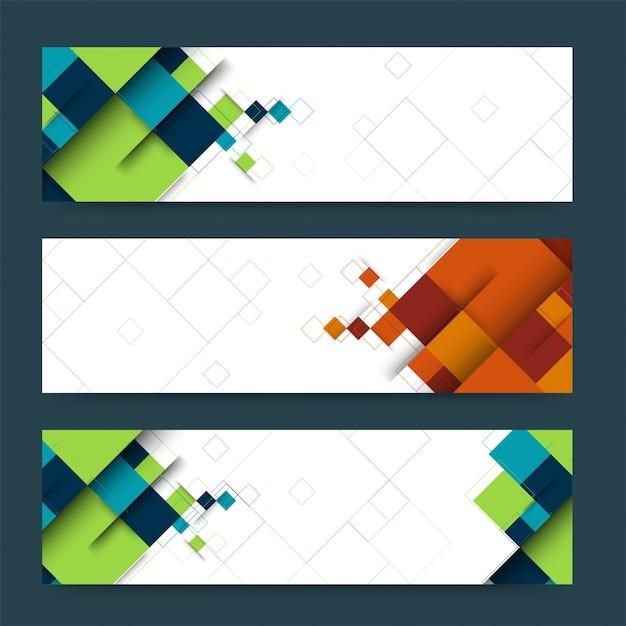 Abstracte koptekst of banner set met geometrische vormen. Gratis Vector