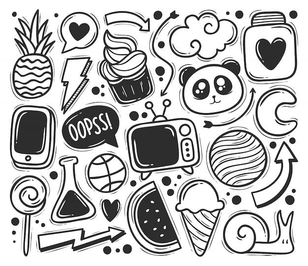Abstracte krabbel pictogrammen hand getrokken doodle kleuren Gratis Vector