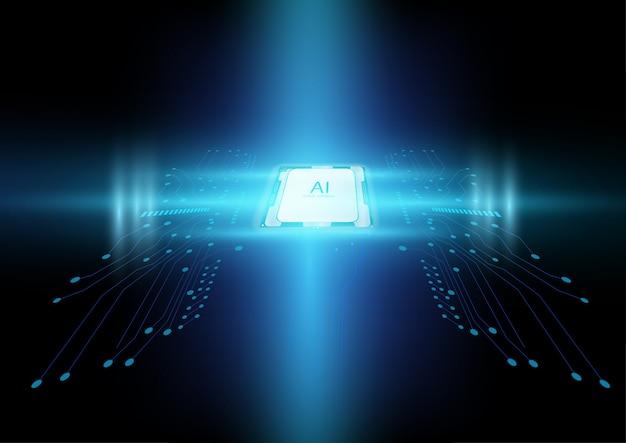 Abstracte kunstmatige intelligentiechip met kringsraad en futuristisch lichteffect Premium Vector