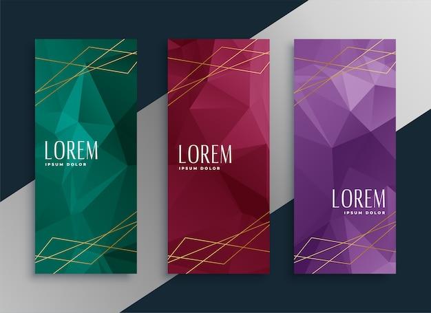 Abstracte laag poly stijl premium banners instellen Gratis Vector