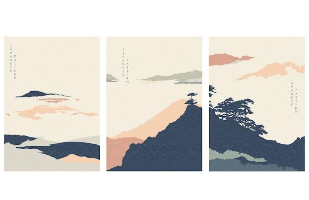 Abstracte landschapsillustratie met bergbos. natuurlijk panorama met japanse golfillustratie. Premium Vector