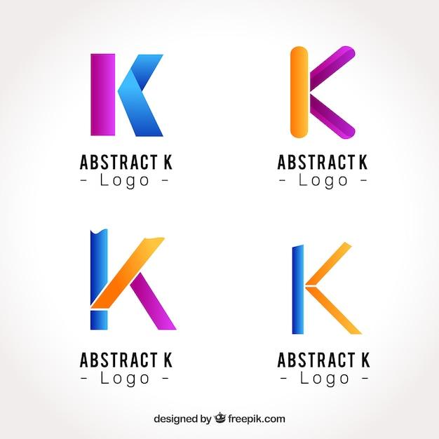 Abstracte letter k logo collecti Gratis Vector