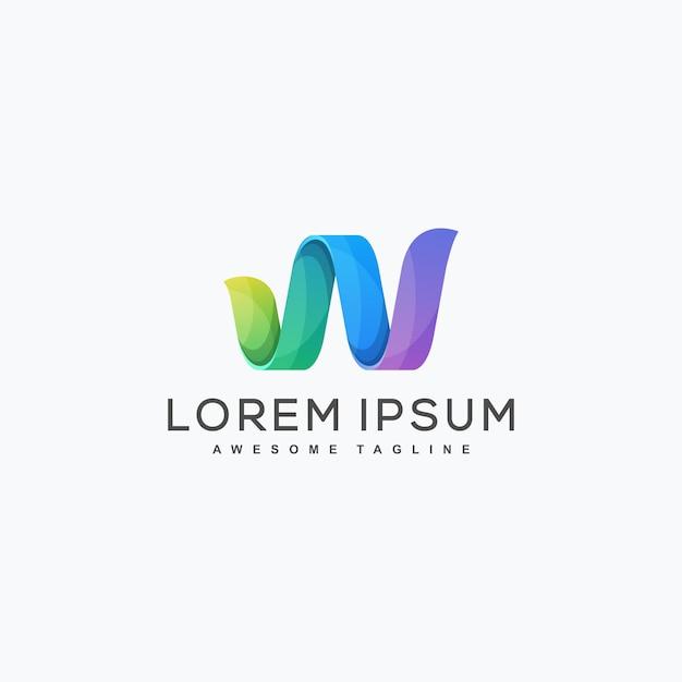 Abstracte letter w illustratie vector ontwerpsjabloon Premium Vector