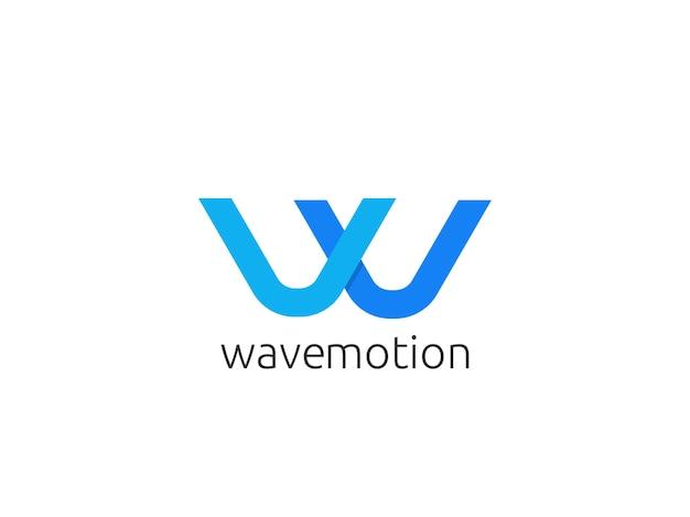 Abstracte letter w logo pictogrammalplaatje Premium Vector