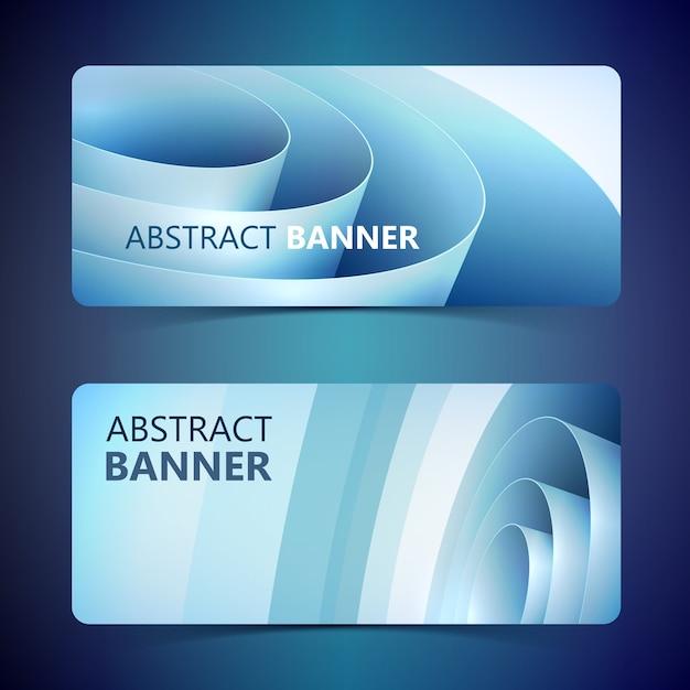 Abstracte lichte horizontale banners met blauwe gerolde gedraaide inpakpapierrol geïsoleerd Gratis Vector