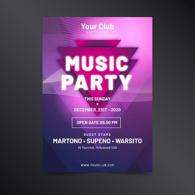 Abstracte lichteffect muziek poster sjabloon Gratis Vector