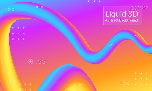 Abstracte lijn 3d vloeibare achtergrond Premium Vector