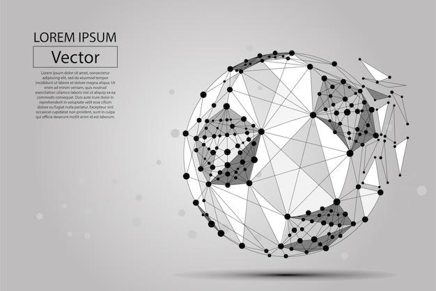 Abstracte lijn en puntvoetbalbal Premium Vector