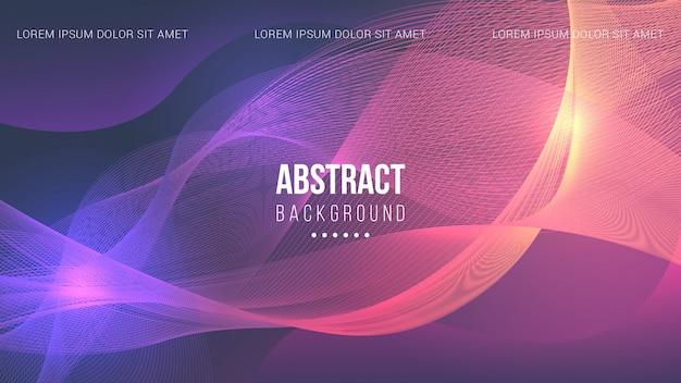 Abstracte lijnen achtergrond met paars en oranje licht Premium Vector