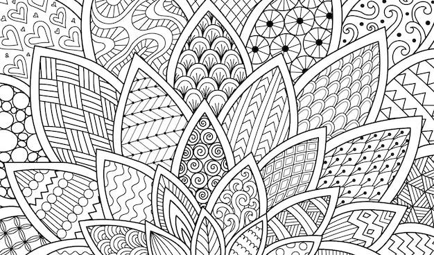 Abstracte lijnkunst van bloem voor achtergrond, volwassen kleurboekillustratie Premium Vector