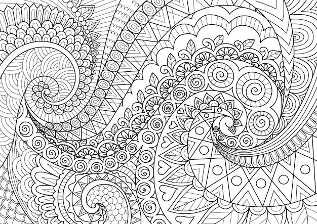 Abstracte lijntekeningen voor achtergrond, volwassen kleurboek, kleurende paginaillustratie Premium Vector