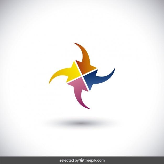 Abstracte logo gemaakt met pijlen Gratis Vector