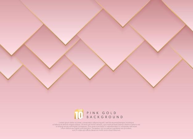 Abstracte luxe roze gouden gradiënt driehoeksvorm met gouden lijn Premium Vector