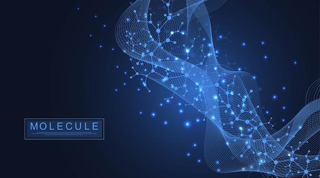 Abstracte medische achtergrond dna-onderzoek, molecuul, genetica, genoom, dna-ketting. genetische analyse kunstconcept met zeshoeken, golven, lijnen, punten. Premium Vector