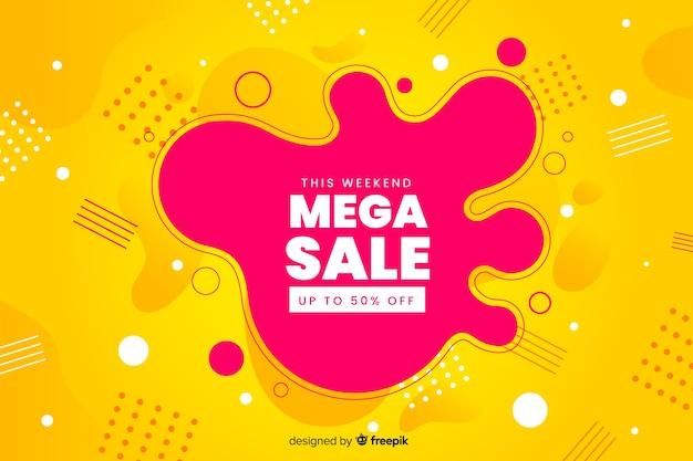 Abstracte mega verkoop vloeibare achtergrond Gratis Vector