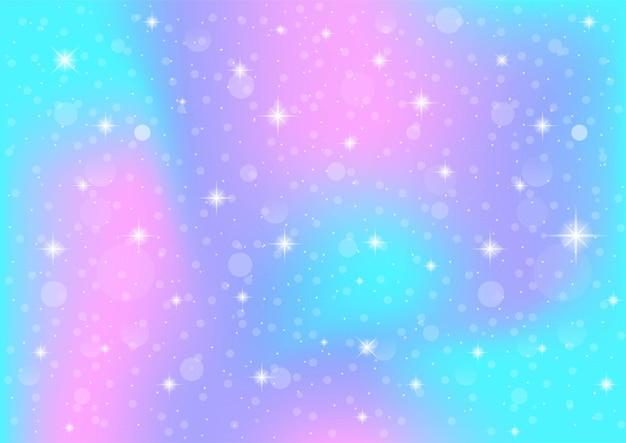 Abstracte melkweg fantasie eenhoorn. pastel hemel met bokeh. regenboog achtergrond. Premium Vector