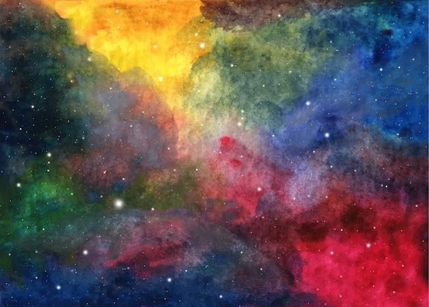 Abstracte melkweg schilderij. aquarel kosmische textuur met sterren. nachthemel. melkweg diep interstellair. kleurrijke kunstruimte. Premium Vector