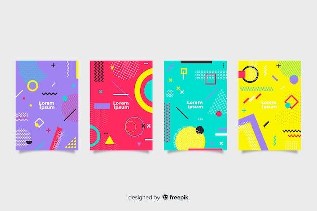 Abstracte memphis stijl cover collectie Gratis Vector