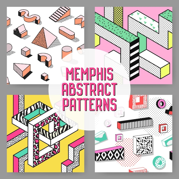 Abstracte memphis stijl naadloze patroon ingesteld. hipster fashion 80s 90s achtergronden met geometrische elementen. Premium Vector