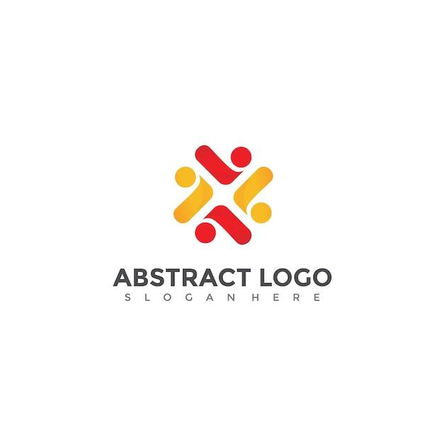 Abstracte mensen logo ontwerp Premium Vector