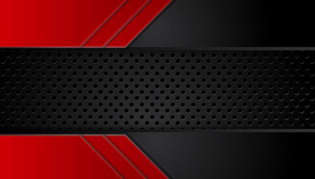 Abstracte metaal rode zwarte achtergrond met contraststrepen. Premium Vector