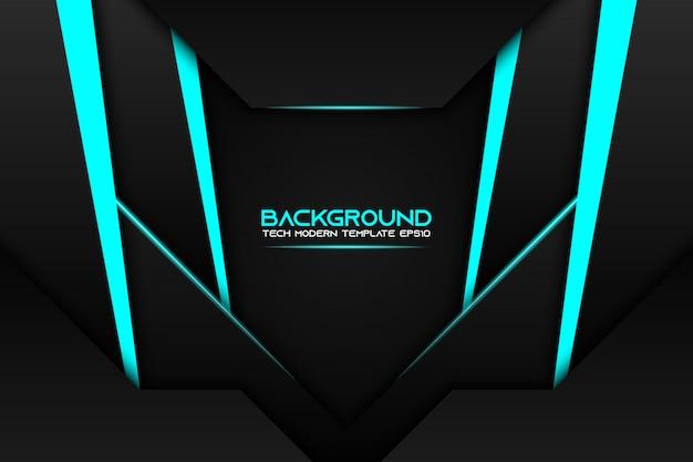 Abstracte metallic blauwe zwarte frame moderne tech ontwerpsjabloon achtergrond Premium Vector