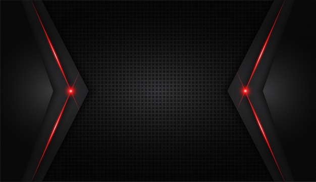 Abstracte metallic rode glanzende kleur zwart frame lay-out moderne tech Premium Vector