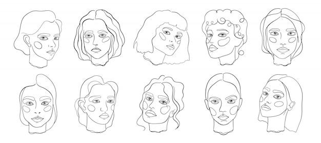 Abstracte minimale gezicht lijn kunst set Premium Vector