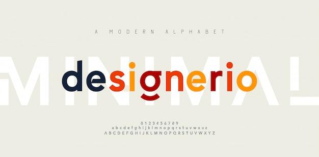 Abstracte minimale moderne alfabetlettertypen. typografie minimalistische stedelijke digitale mode toekomstige creatieve lettertype Premium Vector