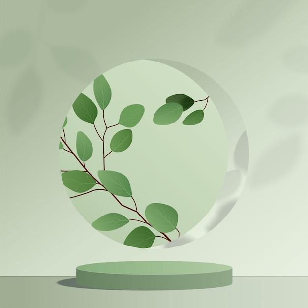 Abstracte minimale scène met geometrische vormen. cilinder groen podium op groene achtergrond met bladeren. productpresentatie, mock up, show cosmetisch product, podium, podiumvoet of platform. 3d Premium Vector
