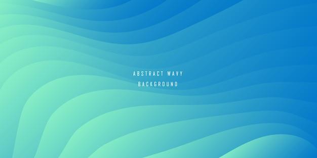 Abstracte minimalistische blauwe golvende achtergrond met kleurovergang Premium Vector
