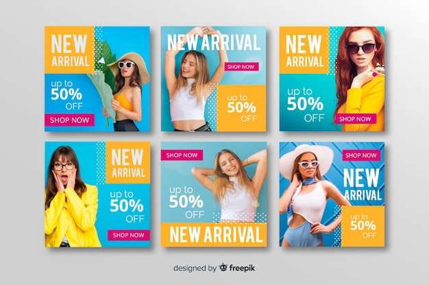Abstracte mode verkoop instagram post collectie Gratis Vector